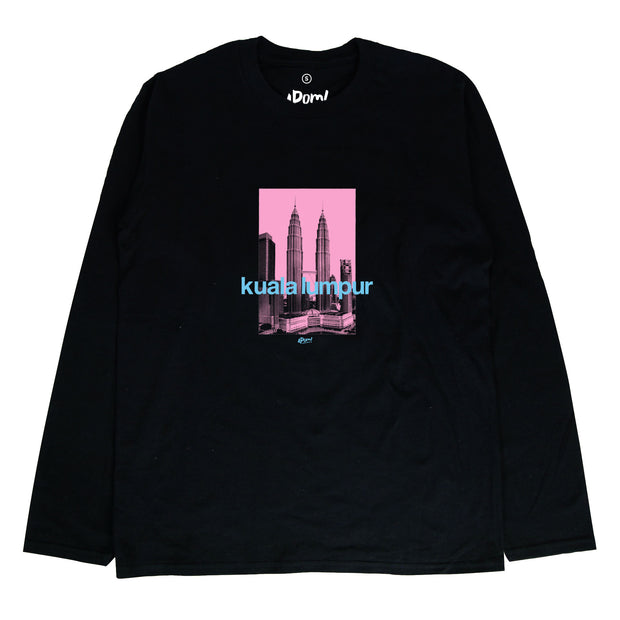 The Petronas Twin Towers once stood as the tallest towers in the world. Stand tall with this KLCC street tee. If you want to bring home a piece of Malaysia this is a must have souvenir . Pink silkscreen design of the twin towers on a black long sleeve T