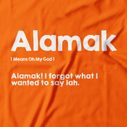 Close up of the white 'Alaska' on an orange T-Shirt