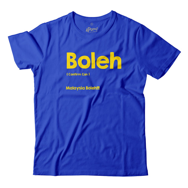 Malaysians posses immense self belief in what can be accomplished. 'Boleh' simply means 'Can'. Long before Americans chanted 'Yes we can'. Malaysians were already saying 'Malaysia Boleh'! On this Blue Apom Tee the words 'boleh' are emblazon in bright yellow!