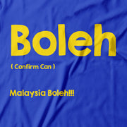 On this Blue Apom Tee close up the words 'boleh' are emblazon in bright yellow!