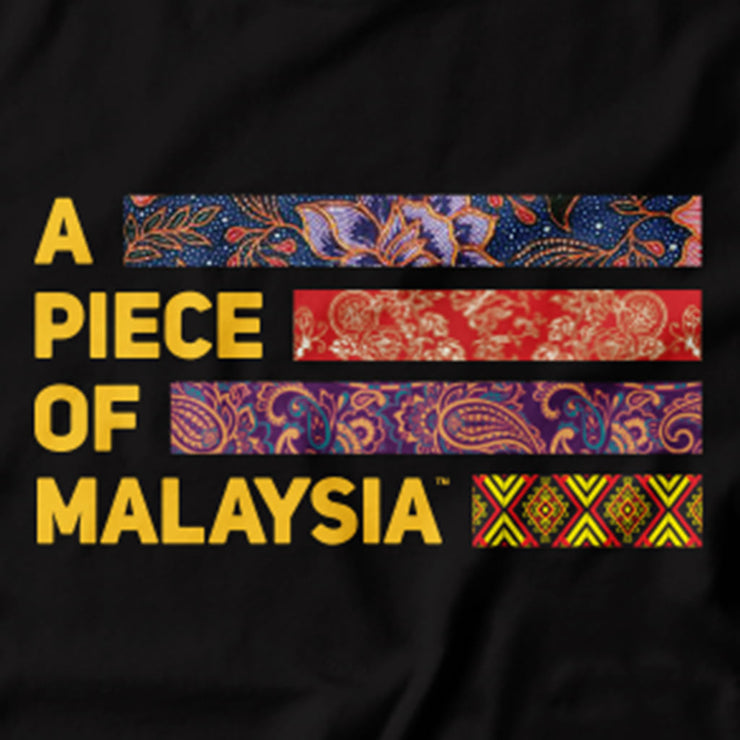 Close up of the Malaysia Logo by Apom. Malaysia's multicultural unity is captured in this Tee. Featuring the A piece of Malaysia logo made up of the traditional fabric of the Malay, Chinese, Indian and Native East Malaysians.