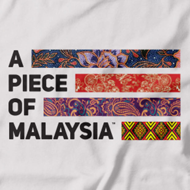 Malaysia's multicultural unity is captured in this Tee. Featuring the A piece of Malaysia logo made up of the traditional fabric of the Malay, Chinese, Indian and Native East Malaysians.