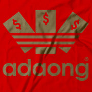 Close up of the Adidas... I mean 'Adaong' logo. On a red background.