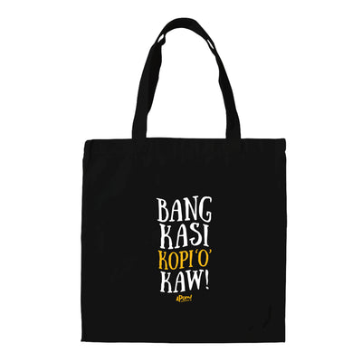 "This Black tote bag is emblazon with the words ""Bang Kasi Kopi Kaw"", which is a typical phrase that will be shouted in a Malaysian Mamak Cafe. It is Malay (Bahasa Malaysia), and translates in english to; ""Bro give me a strong black coffee"".  The Apom tote bag is a popular travel souvenir and street fashion statement."