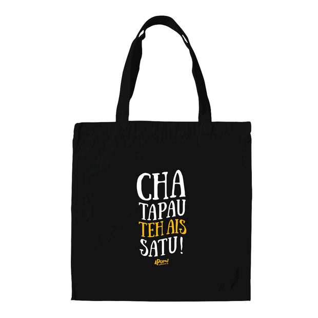"This Black tote bag is emblazon with the words ""Cha bagi the ais satu"", which is a typical phrase that will be shouted in a Malaysian Mamak Cafe. It is Malay (Bahasa Malaysia), and translates in english to; ""Bother give me an ice milk tea"".  The milk is implied. The Apom tote bag is a popular travel souvenir and street fashion statement."