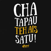 "On a closeup of a Totebag Design Black is emblazon with the words ""Cha bagi the ais satu"" which is a typical phrase that will be shouted in a Malaysian Mamak Cafe. and translates in english to; ""Bother give me an ice milk tea"".  The Apom tote bag is a popular travel souvenir and street fashion statement."