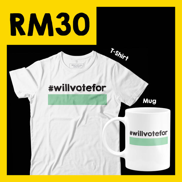 Will Vote For - Mug + T-Shirt Bundle - Black and Green
