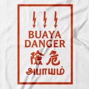 Close up: Bahaya Means Danger, Buaya is aa Slang for a 'Player' which is also dangerous. In this design, Apom takes A Malaysian Danger Sign and juxtaposes it with the word Buaya, Creating a work of parody art that is seriously funny! White cotton T-Shirt with Red print!