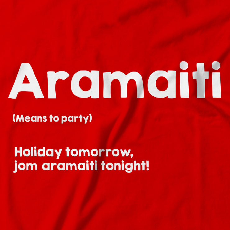 Close up of the Aramaiti Tee, (Let's party!). - Apom!
