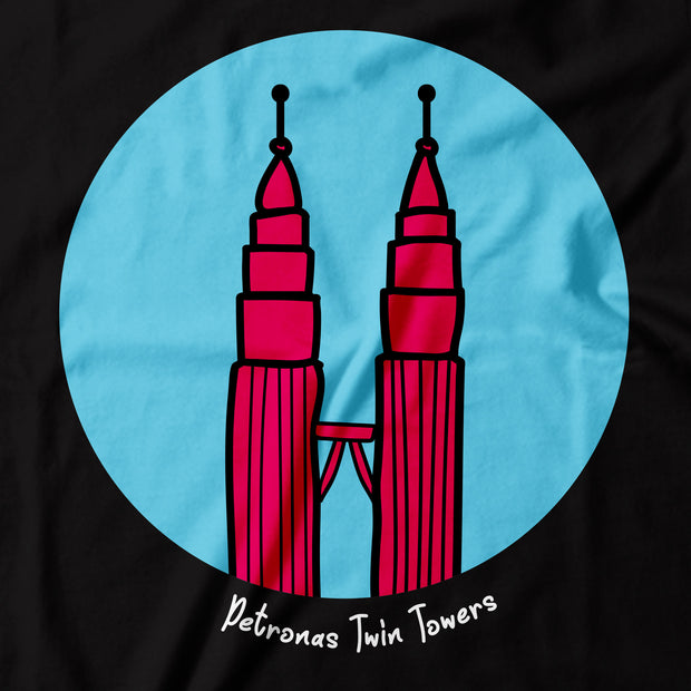Adult - T-Shirt - Pop Landmark Petronas Twin Towers - Black