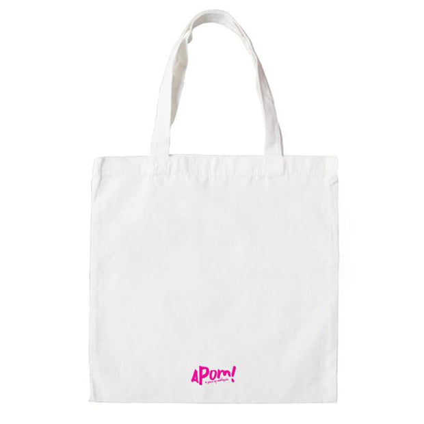 On the revers side of 'this is not a birkin' totebag is printed in shocking pink; the Apom logo.