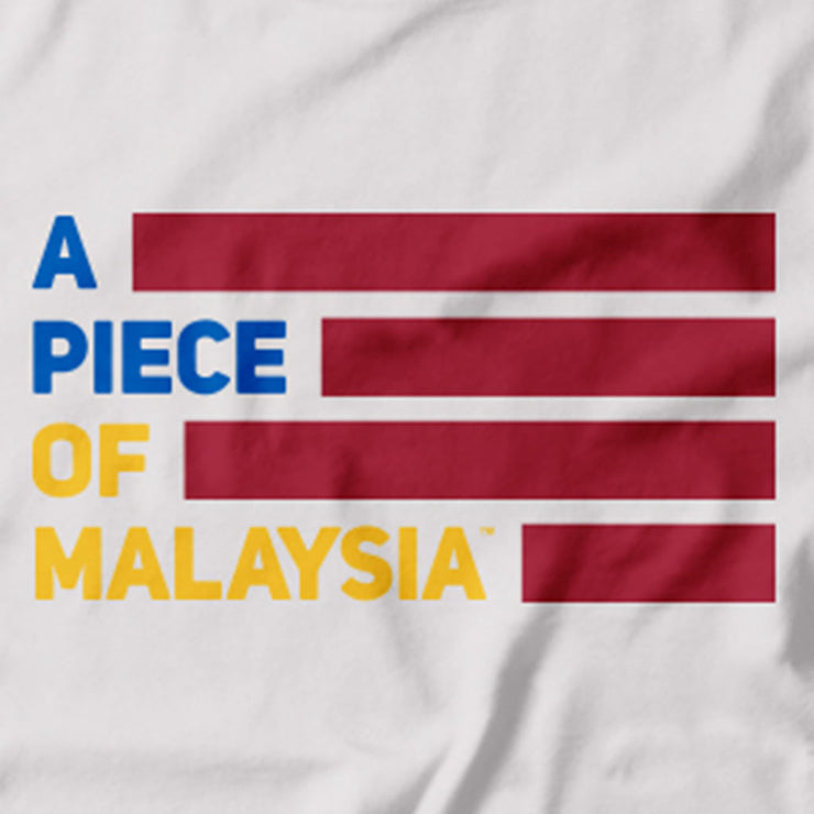Close up of Malaysia's multicultural unity is captured in this Tee. Featuring the A piece of Malaysia logo in the colours of the Jalur Gemilang (has Malaysia's National Flag). Red, White Yellow and Blue.