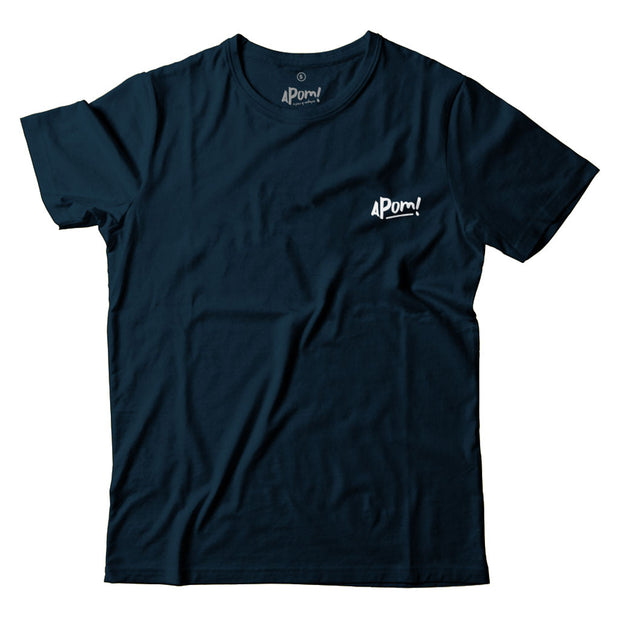 The front of this Dark Blue Street-T Features a small Apom logo above the left breast