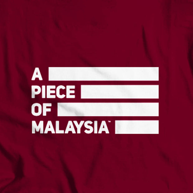 Back of Apom's maroon Street-T Featuring the A Piece of Malaysia Icon.