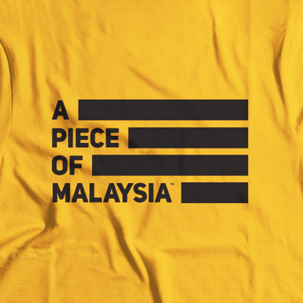 Yellow Street-T Featuring the A Piece of Malaysia Icon. The black stripes make the T-Shirt a good choice when supporting our Harimau Malaysia! Features a close up of the icon on the back.