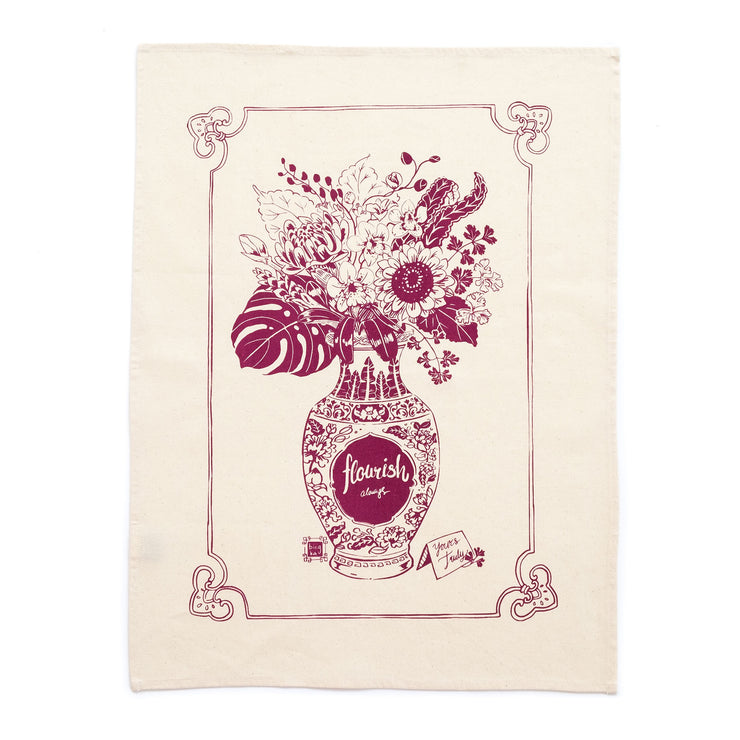 Bingka - Tea Towel Flourish Burgandy