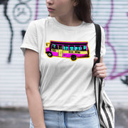 A woman wearing a white cotton shortsleeved unisex Tee, has the look of a silk screens pop object in the style of Andy Warhol's pop art but instead of duplicating campbell soup and Marilyn Monroe this wearable work of art features the classic Malaysian Mini Bus. This blend of contemporary style meets nostalgia is a combination that only Apom.my can tastefully balance. The ultimate in non Kitsch Malaysiana.