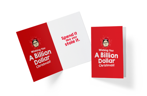 Wishing You A Billion Dollar Christmas Greeting Card,  - APOM, A Piece of Malaysia Souvenirs Statement T-Shirts Mugs Accessories