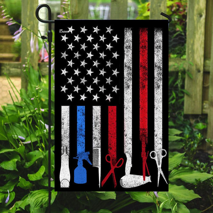 Hairdresser, Hair Stylist, Barber Pride American US Flag | Garden Flag | Double Sided House Flag