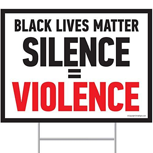 Black Lives Matter Yard Sign (24 x 18 inches) Corrugated Plastic Yard Sign (24 x 18 inches)s with Stakes HFrame Ground Stake Sign Holder (Black & Red)
