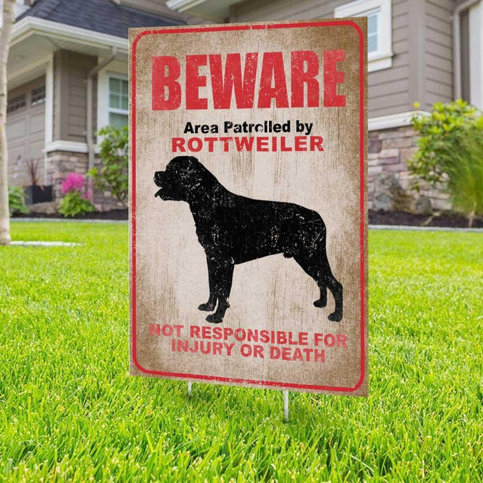 Beware Rottweiler Yard Sign (24 x 18 inches)