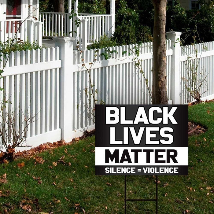 Black Lives Matter Silence Violence Yard Sign (24 x 18 inches)