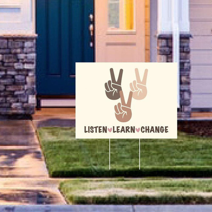 Black Lives Matter Listen Learn Change Yard Sign (24 x 18 inches)