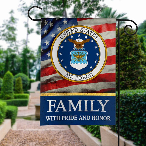 US Air Force Family With Pride And Honor | Army Veteran American | Garden Flag | House Flag | Outdoor Decor
