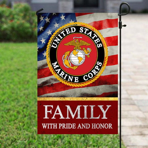 Marine Corps Family With Pride And Honor | Army Veteran American | Garden Flag | House Flag | Outdoor Decor