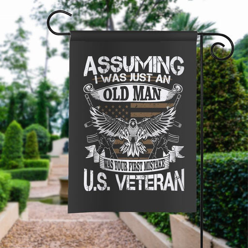American Veteran Oldman | Army Veteran American | Garden Flag | House Flag | Outdoor Decor