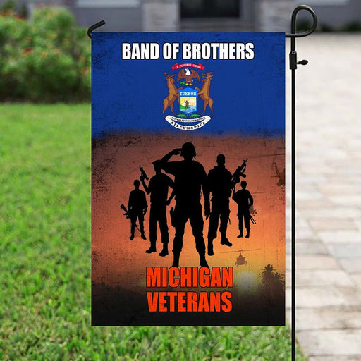 Band Of Brothers Michigan Veterans | Army Veteran American | Garden Flag | House Flag | Outdoor Decor