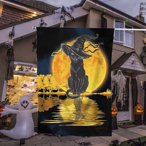 Vintage Halloween Scary Black Cat Witch Hat Moon Witchy | Halloween Yard Decor | Garden Flag | House Flag | Outdoor Decor