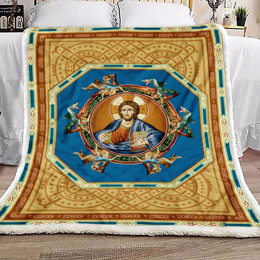 Jesus Eastern Orthodox Fleece Blanket