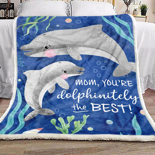 Dolphin To My Mom Fleece Blanket | Gift for Mom