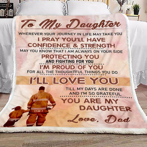 Firefighter Dad To Daughter Fleece Blanket Gift for Daughter