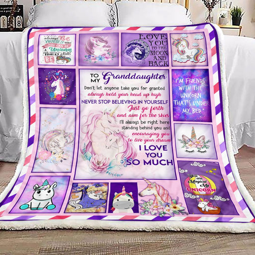 Grandma To Granddaughter Unicorn Fleece Blanket | Gift for Granddaughter