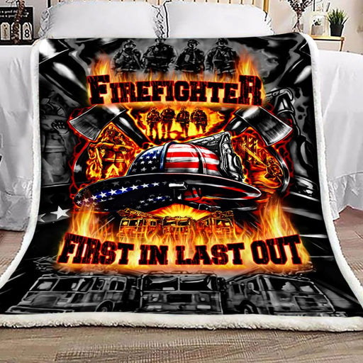 Firefighter First In Last Out Fleece Blanket