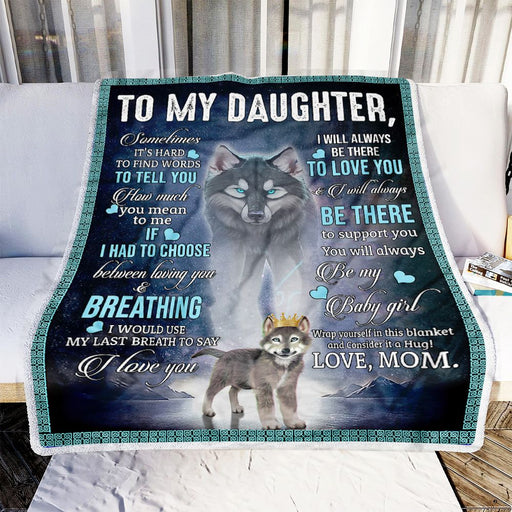 To My Daughter Wolf Dad Fleece Blanket | Gift for Daughter