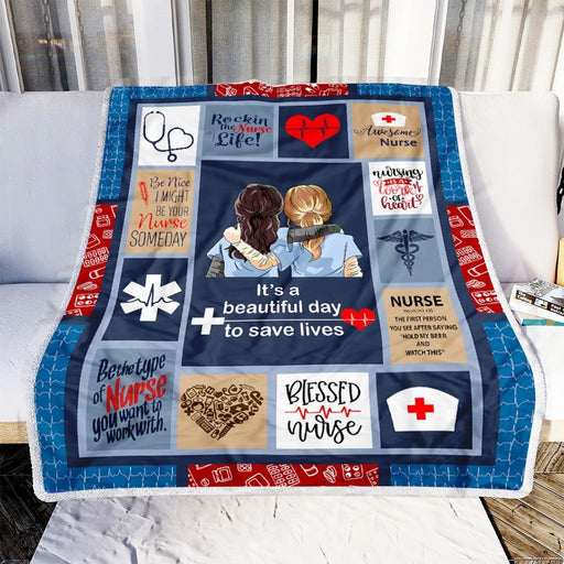 Nurse, It's a Beautiful Day to Save Lives Fleece Blanket