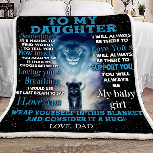 To My Daughter Lion Dad Fleece Blanket | Gift for Daughter