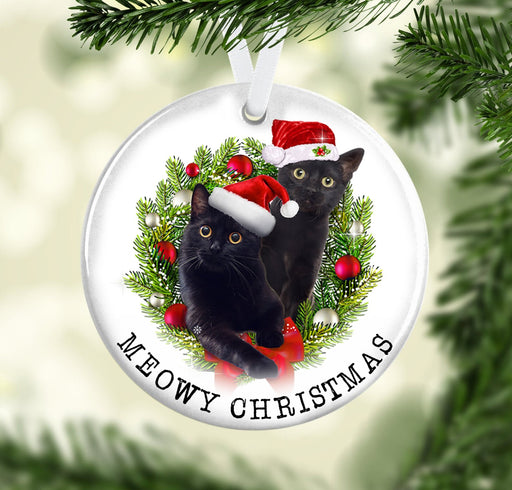 Black Cat Meowy Christmas Ceramic Ornament - Christmas Ornament | Christmas Gift | Circle Ornament