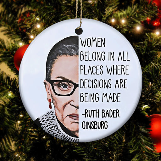 RBG Ornament - Women Belong In All Places - Christmas Ornament | Christmas Gift | Circle Ornament 1604942337442.jpg