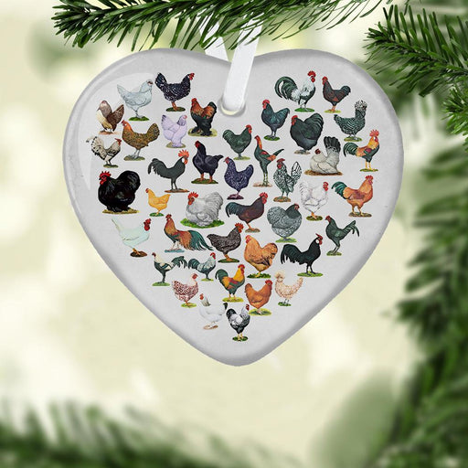 Chicken Heart Ceramic Ornament - Christmas Ornament | Christmas Gift