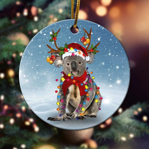 Christmas Koala Ornament - Christmas Ornament - Christmas Gift - Ceramic Circle Ornament