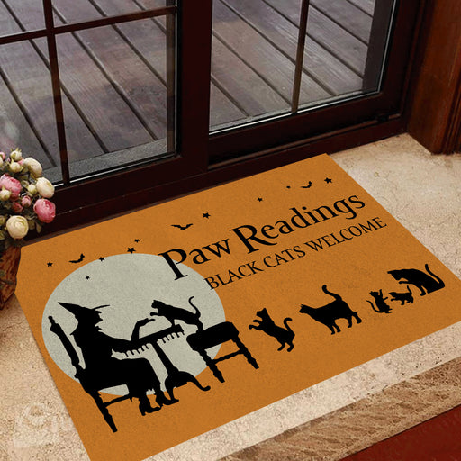 Halloween, Cat Doormat Halloween Paw Reading | Welcome Mat | House Warming Gift | Christmas Gift Decor