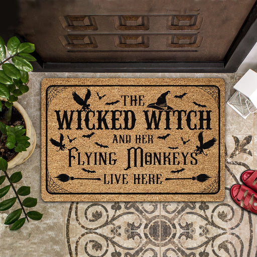 The Wicked Witch And Her Flying Monkeys Live Here - Halloween Doormat | Welcome Mat | House Warming Gift | Christmas Gift Decor