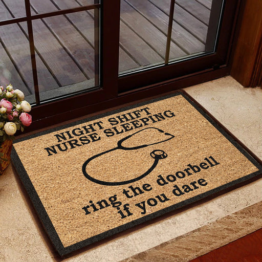 Night Shift Nurse Sleeping, Ring The Doorbell If You Dare - Nurse Doormat | Welcome Mat | House Warming Gift | Christmas Gift Decor