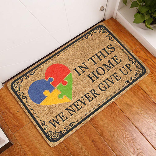 In This Home We Never Give Up - Autism Doormat | Welcome Mat | House Warming Gift | Christmas Gift Decor