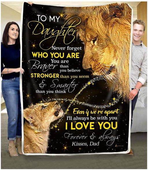 To My Daughter Fleece Blanket From Lion Dad - Gift For Daughter | Family Blanket