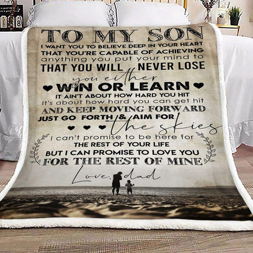 To My Son Fleece Blanket Love Dad - Gift For Dad | Family Blanket